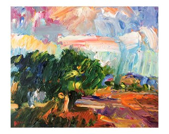 Autumn Fields and Colourful Clouds - Original Landscape Oil Painting Skyscape Plein Air Paintings Sky Impasto Thick Art Vivid Vibrant Bright