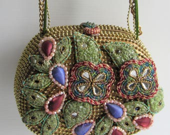 Mary Frances Gorgeous Embellished Multi Color Gold Bead Minaudiere Purse