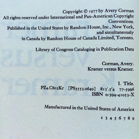 Kramer Versus Kramer By Avery Corman 1977 First Edition Etsy