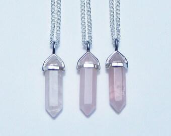 Rose Quartz Crystal Necklace, Rose Quartz Necklace, Crystal Point Necklace, Healing Crystal Necklace, Crystal Necklace, Quartz Crystal