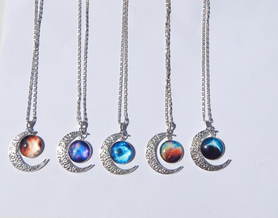 be7b09dd1cf8 Collier lune Galaxy Galaxy collier collier croissant de