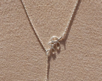 Bird and Branch Necklace , Bird and Branch Lariat Necklace, Silver Bird Necklace, Silver Branch Necklace, Lariat Necklace