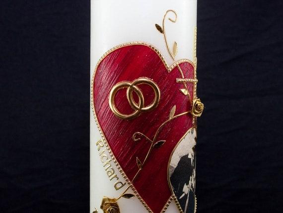 Kerze Diamantene Hochzeit Goldene Hochzeit Oder Silberhochzeit Mit Roten Herzen