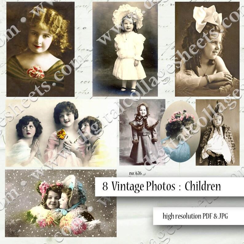 8 Vintage Children Photographs Digital Collage Sheet Tinted image 0