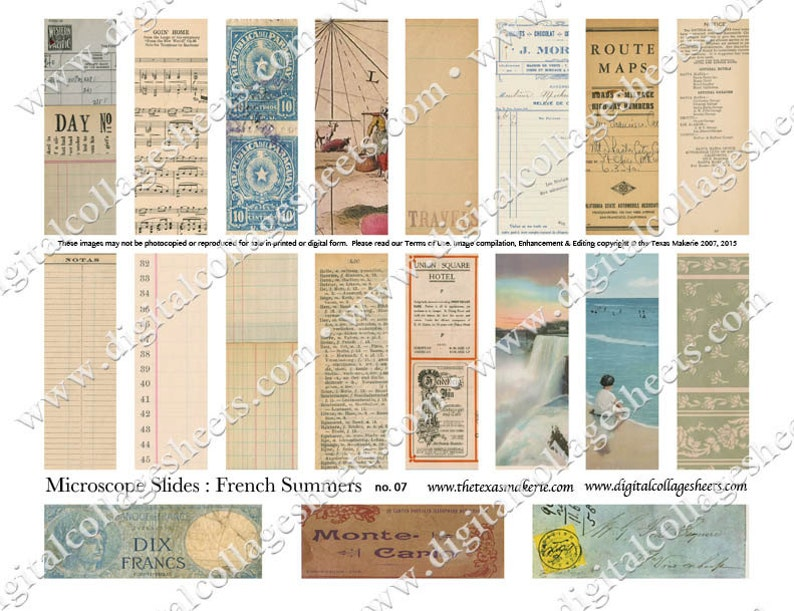 19 Microscope Slides French Summers Ephemera Digital Collage image 0
