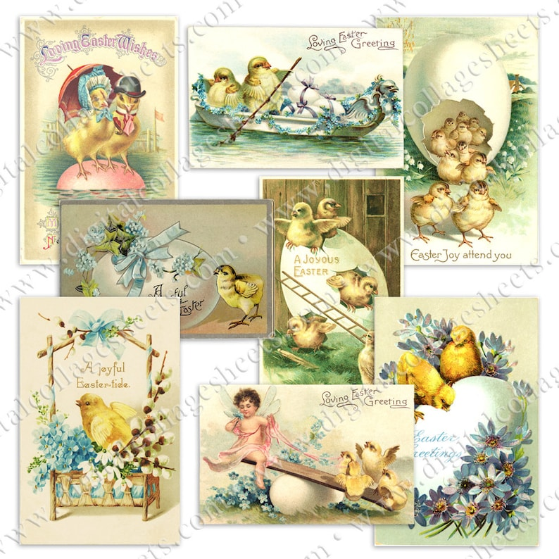 Easter Postcards Vintage Chicks Printable Digital Collage image 0