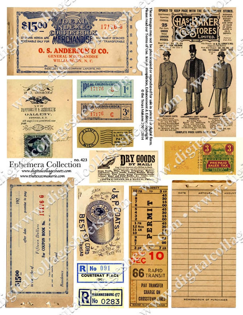 Ephemera Collection Digital Collage Sheet Instant Download image 0