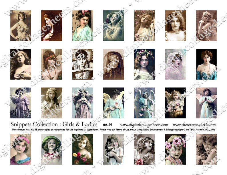 28 Ladies & Girls Tinted Photograph Snippets Digital Collage image 0