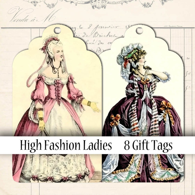 Scalloped Tags Digital Collage Sheet Fashion Illustration image 0