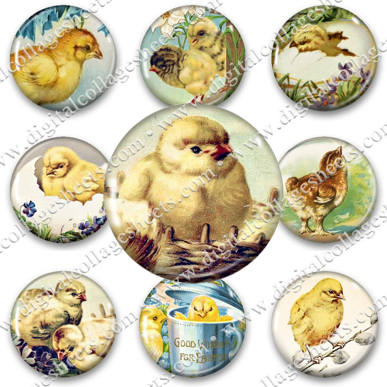 Easter Chicks 1.5 Circles Printable Jewelry Pendant image 0