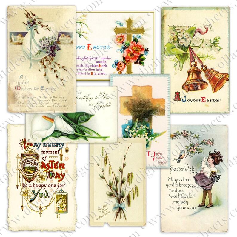 Vintage Whites Easter Postcards Flowers & Crosses Printable image 0