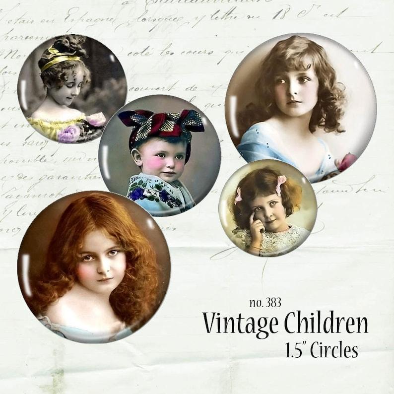 Vintage Children 1.5 Circles Digital Collage Sheet Photograph image 0