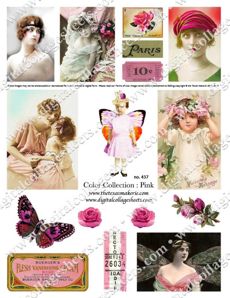 Color Pink Digital Collage Sheet Vintage Tinted Photographs image 0