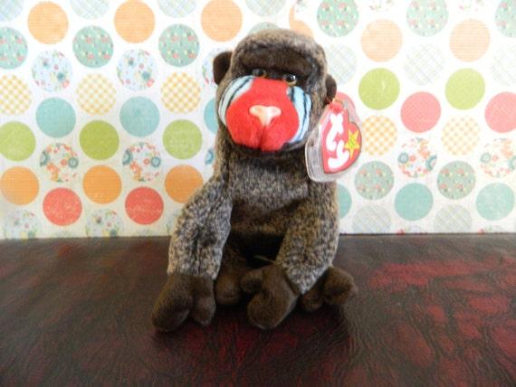 TY Brown Baboon Monkey Beanie Baby Cheeks B  152499d6336