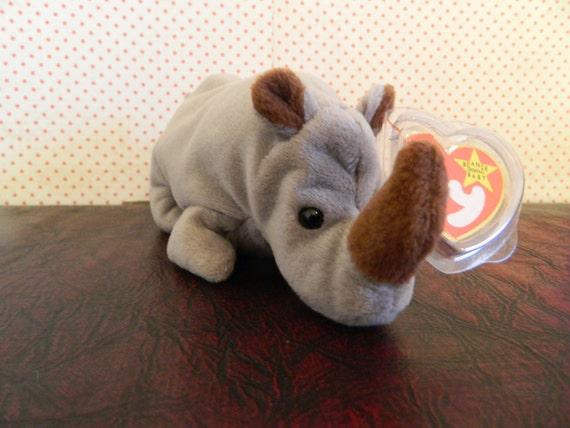 7272151dedd TY Gray Rhino Beanie Baby Spike B
