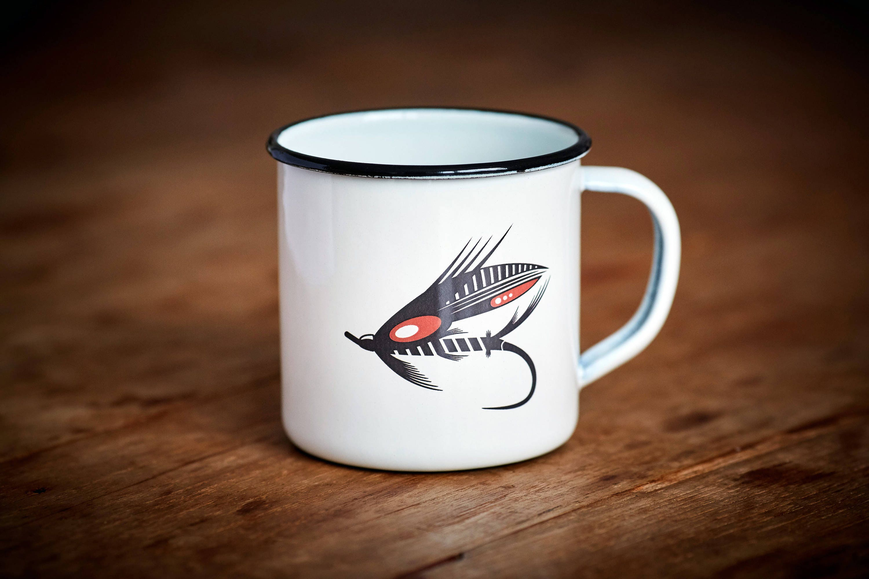 LACHSFLIEGE Tasse Emaille Becher Fliegenfischen Lagerfeuer | Etsy