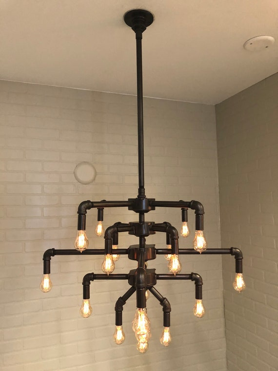 Large 42 Wide Black Iron Pipe 19 Light Chandelier W Etsy