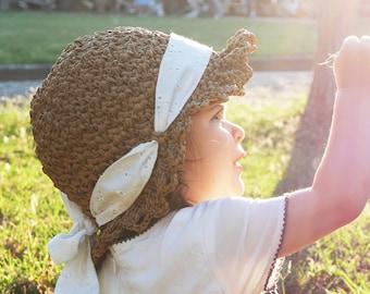 Crochet summer hat pattern, beach hat, raffia crochet hat, crochet brimmed hat, crochet sun hat