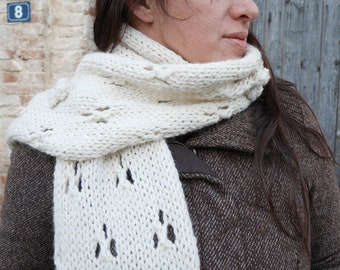 Chunky lace knit scarf pattern, easy knit scarf, knitted lacy scarf