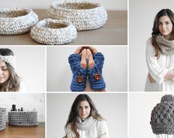 Womens crochet accessories pattern e-book, 7 crochet patterns, cowl, infinity scarf, fingerless mittens, hat, baskets