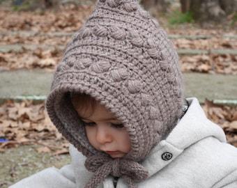Crochet baby pixie hat pattern, crochet baby hat, girls pixie hood