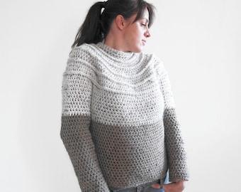 Crochet yoke sweater pattern, seamless crochet sweater, crochet jumber pattern