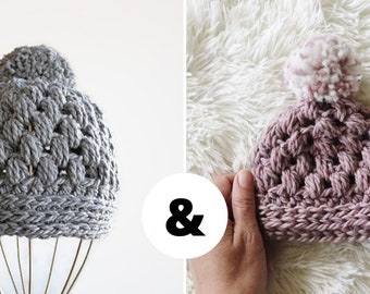 Mommy and me crochet hat patterns, mommy and me beanies, crochet hat pattern