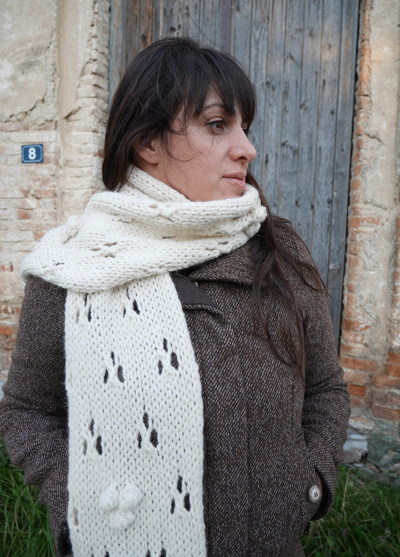 Chunky lace knit scarf pattern easy knit scarf knitted lacy image 0