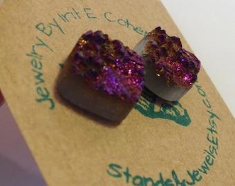 Cute Stud Earrings - Deep Purple - Sparkling Druzy Stone - Square Shape