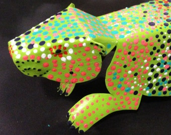 Beaver, Colorful Dot painted, Folded Copper Figure