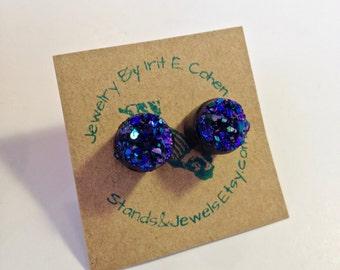 Cute Stud Earrings - Deep Blue - Sparkly Faux Druzy Stone
