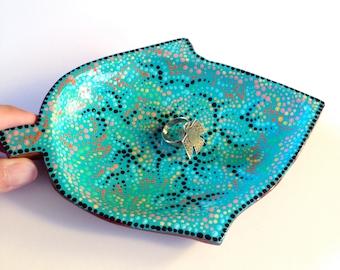 Ring Holder Dish - Turquoise - Decorative Jewelry Storage - Leaf