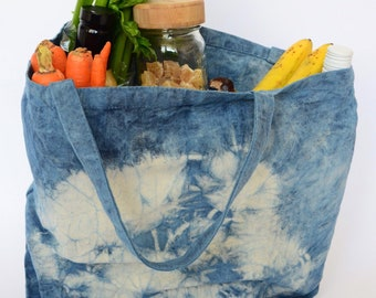 Cabas bag in natural cotton dyed in blue indigo