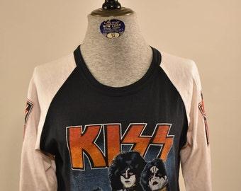 Vintage KISS ARMY tour Baseball Tee Band Shirt 80's 50/50
