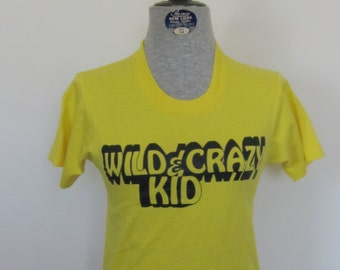Vintage WILD & CRAZY Kid 50/50 Yellow T-Shirt 10-12 Usa