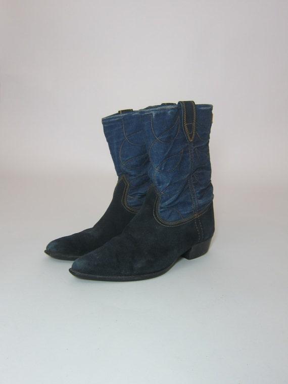 Vintage ACME DENIM Cowboy Boots Blue