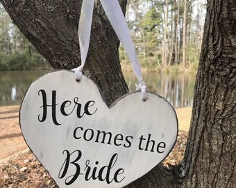 Here comes the bride wedding heart wood sign