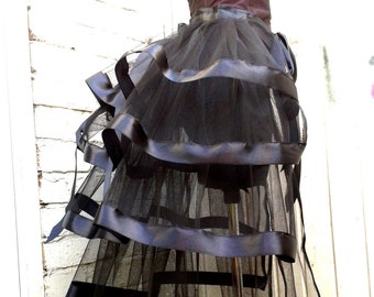 Black bustle skirt tulle All colours Festival wear Gothic wedding Burlesque Steampunk Gothic Victorian