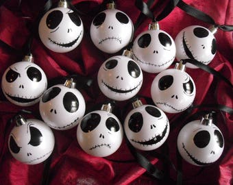 4 12 nightmare before christmas inspired jack skellington winter white baubles christmas tree decoration home club hand painted - Jack Skellington Christmas Decorations