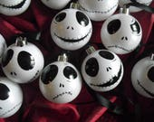 Nightmare Before Christmas baubles Jack Skellington winter white baubles Christmas tree home hand painted