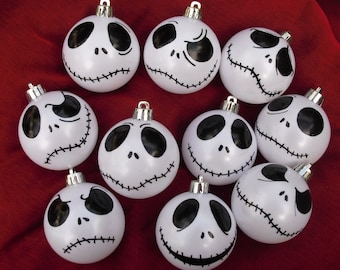jack skellington baubles ornaments iris white nightmare before christmas home christmas tree decoration gift hand painted set of 12 - Jack Skeleton Christmas Decorations
