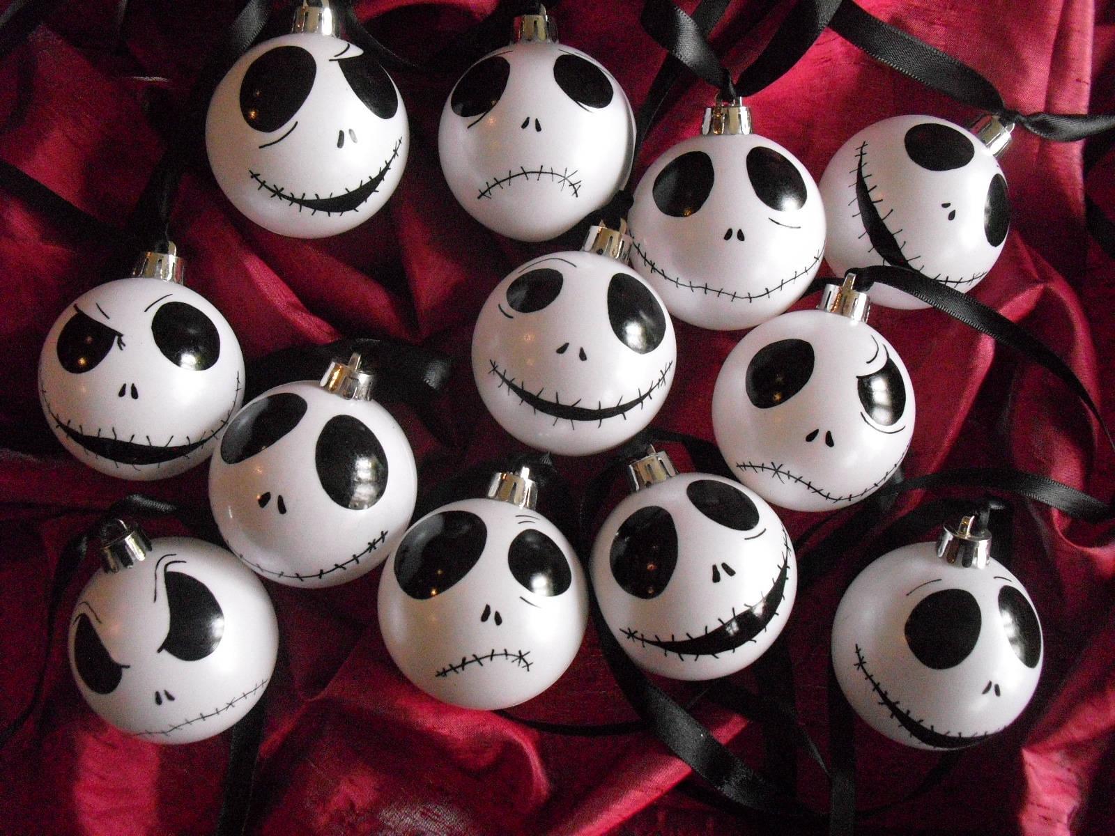 Set von 9 Ornamente Jack Skellington Kugeln weiß schillernden | Etsy