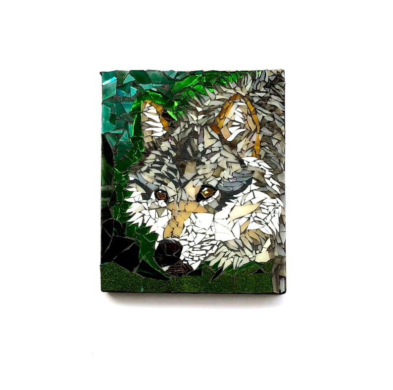 Wolf Mosaic Nature Art Woodland Decor Animal Wall Hanging image 0