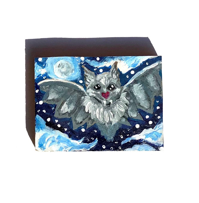 Bat Art Night Painting OOAK Artwork Dark Decor Goth Gift image 0