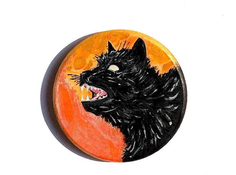 Black Cat Art Halloween Painting Original OOAK Artwork image 0