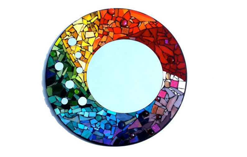 Custom Mosaic Round Mirror One of a Kind Art Made to Order image 0