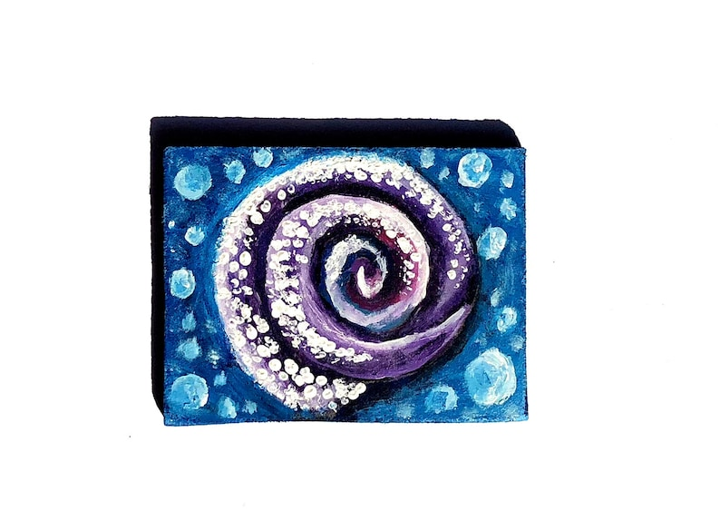 SeaShell Painting Shell OOAK Artwork Purple Ocean Decor Sea image 0