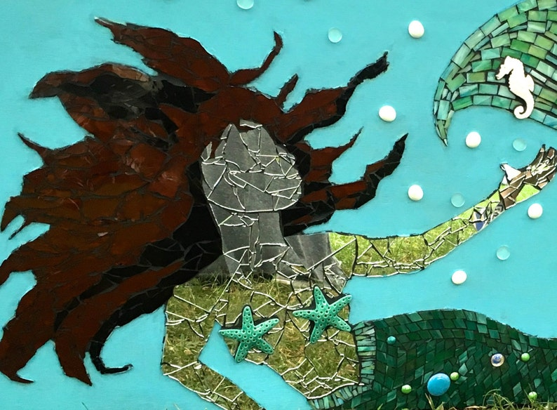 Mermaid Art Mosaic Ocean Artwork Large Mixed Media Beach image 0