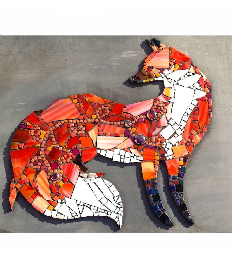 Custom Whimsical Fox Wall Art. Unique Mosaic Glass Art. image 0