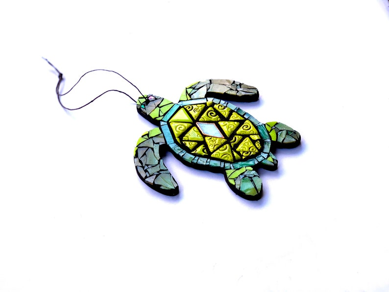 Seaturtle Art Turtle Mosaic Green Mixed Media Ocean Decor image 0